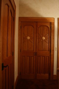 Solid Black Cherry closet doors